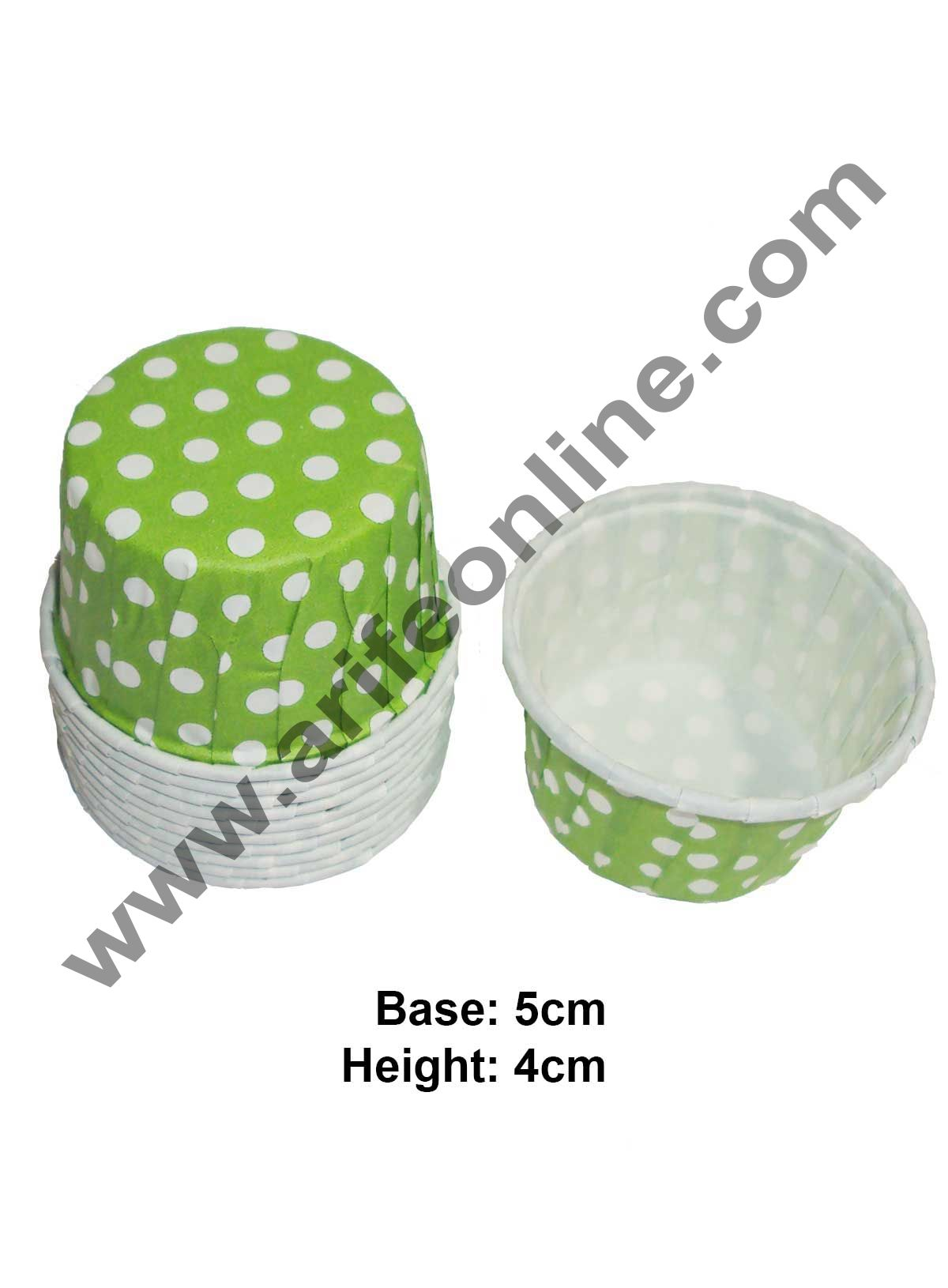 Novacart Bake & Serve Paper Baking Mould By Cake Decor - Green Cupcake Mould 10 Pcs