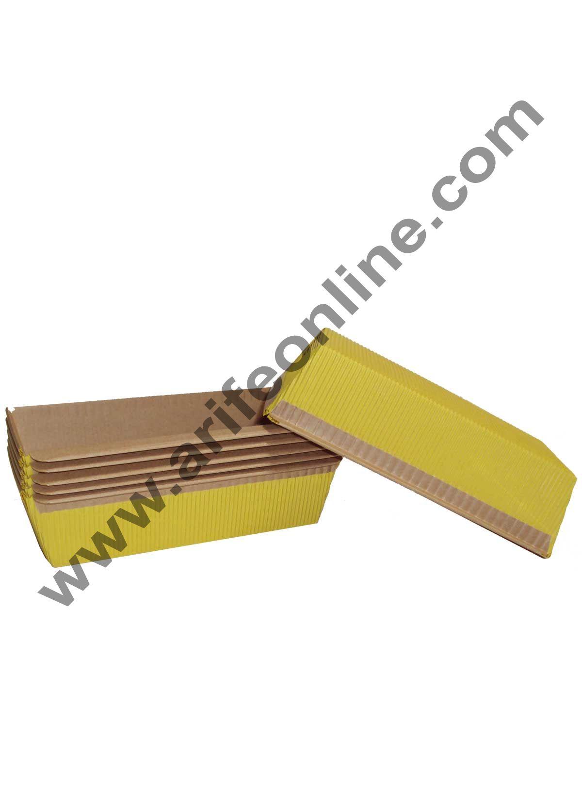 Novacart Bake & Serve Paper Baking Mould By Cake Decor - Plum Cake Mould Yellow 10 Pcs