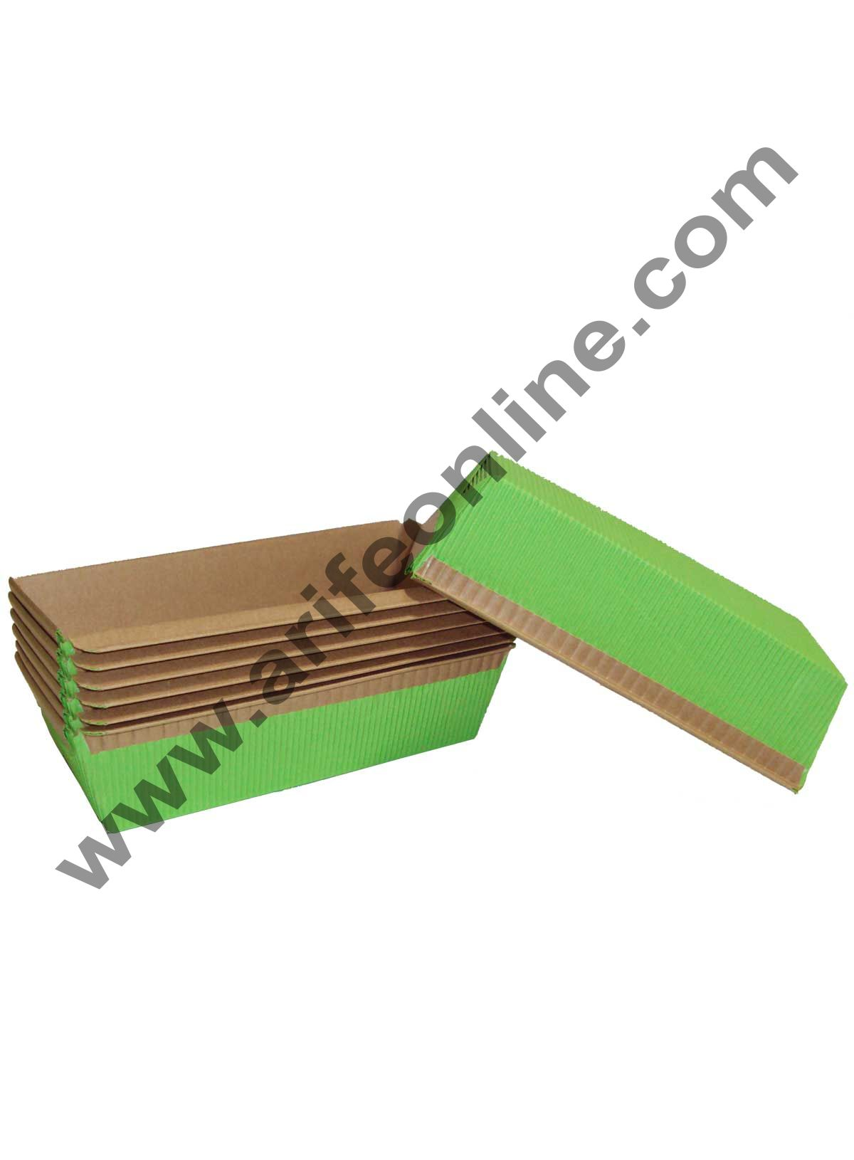 Novacart Bake & Serve Paper Baking Mould By Cake Decor - Plum Cake Mould Green 10 Pcs