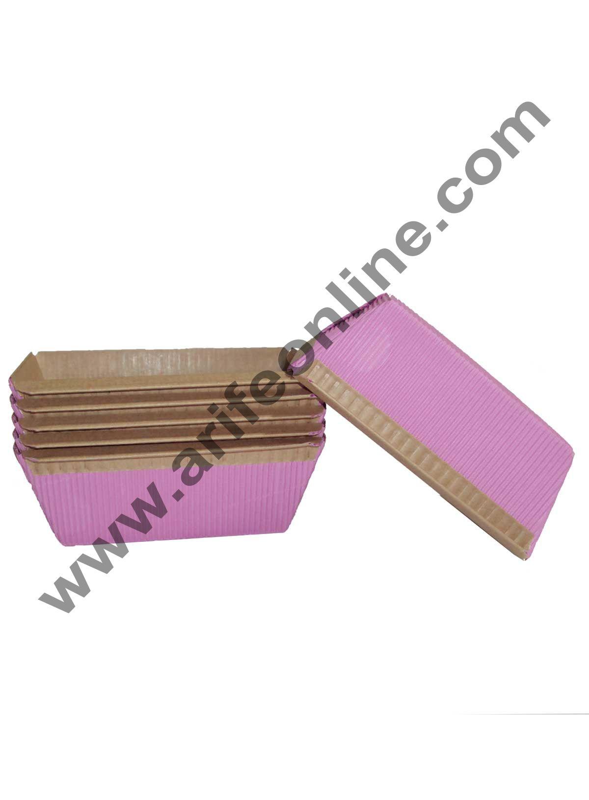 Novacart Bake & Serve Paper Baking Mould By Cake Decor - Plum Cake Mould Pink 10 Pcs