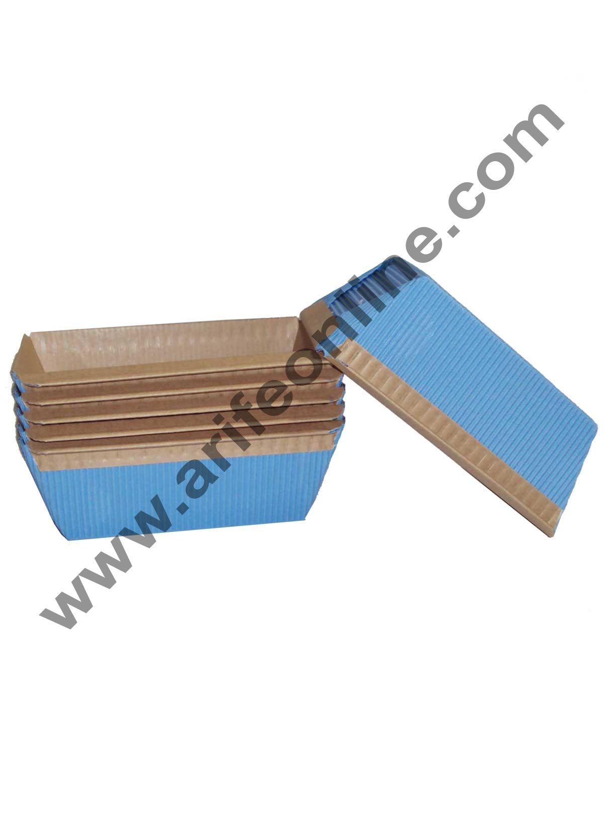 Novacart Bake & Serve Paper Baking Mould By Cake Decor - Plum Cake Mould Blue 10 Pcs