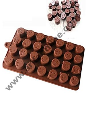 Cake Decor Silicon 28 Cavity Smiley Shapes Design Brown Chocolate Mould, Ice Mould, Chocolate Decorating Mould