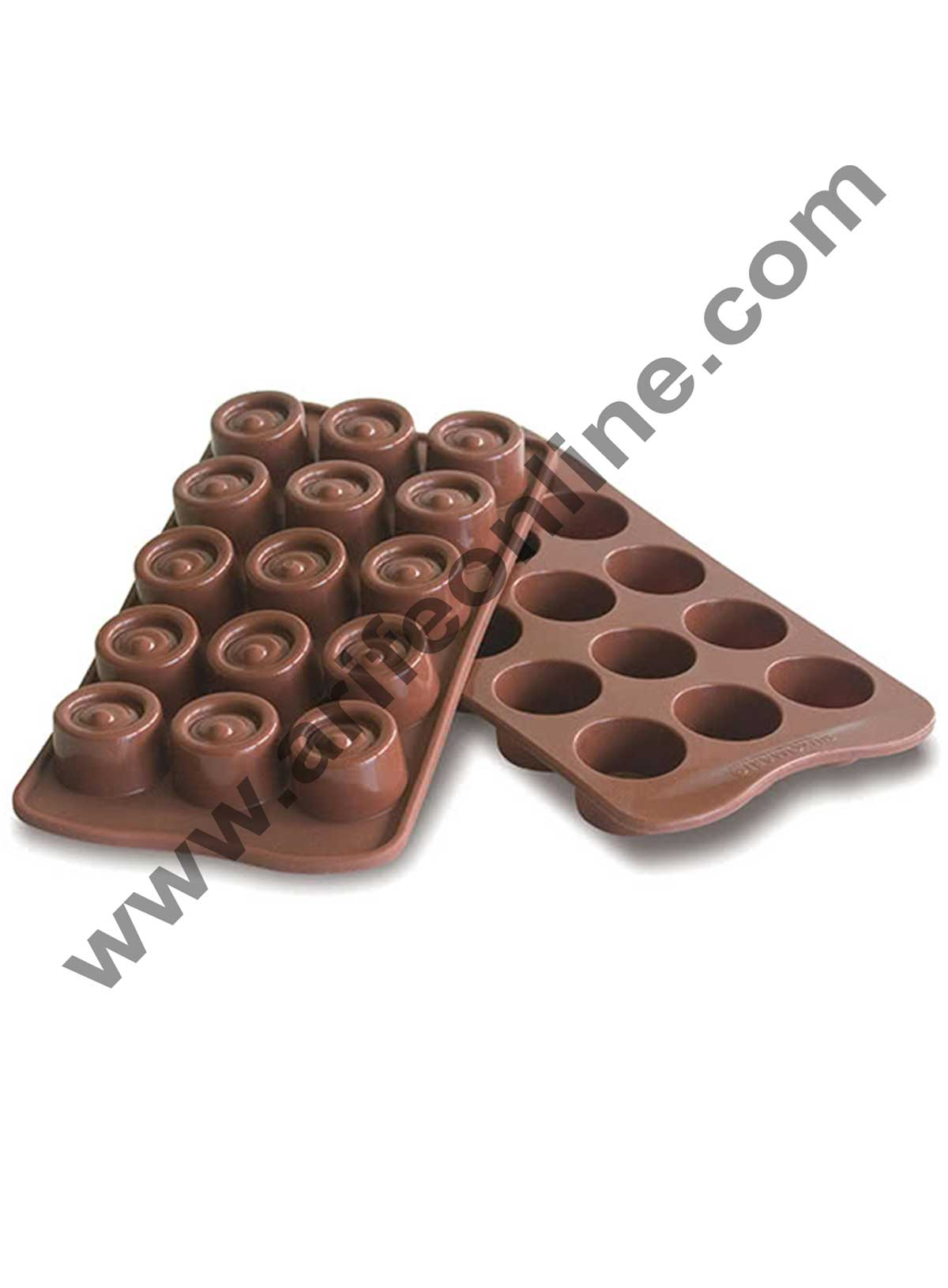 Cake Decor Silicon 15 Cavity Round Crical Brown Chocolate Mould, Ice Mould, Chocolate Decorating Mould
