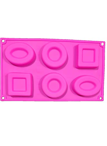 Cake Decor Silicon 6 Cavity,Square,Circle and Oval Non Sticky Mold for soap,Chocolate, Fondant Sugar bakeware Mold 2