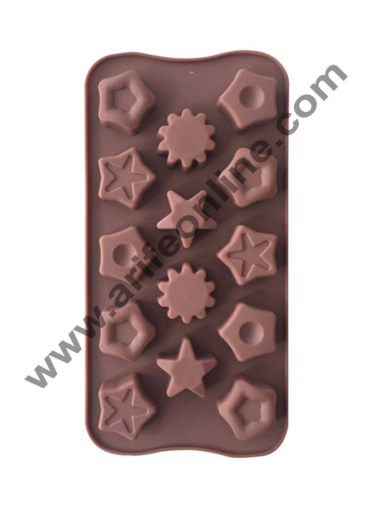 Cake Decor Silicon 14 Cavity Mix Star Shape Brown Chocolate Mould, Ice Mould, Chocolate Decorating Mould