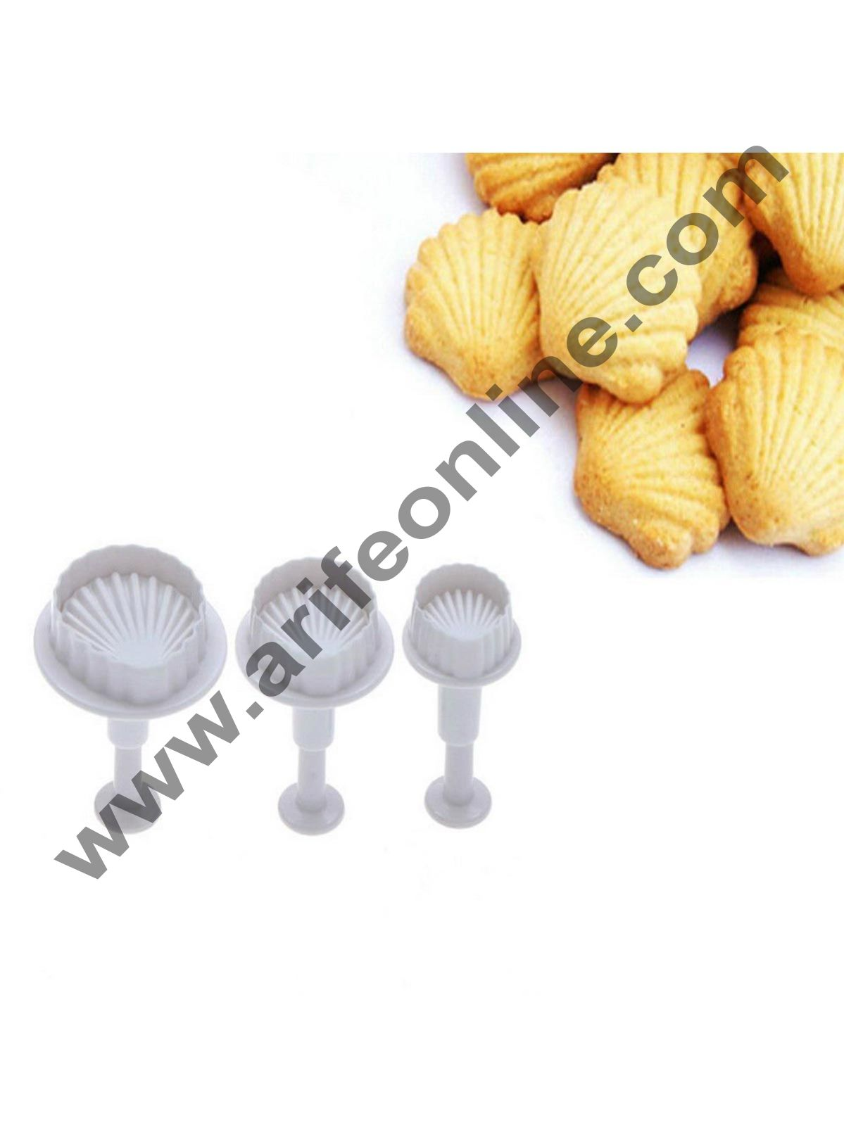 Cake Decor 3Pcs Shell Shape Plunger Cutter Fondant Cake Decor Tools Sugar Craft Cookie Mold