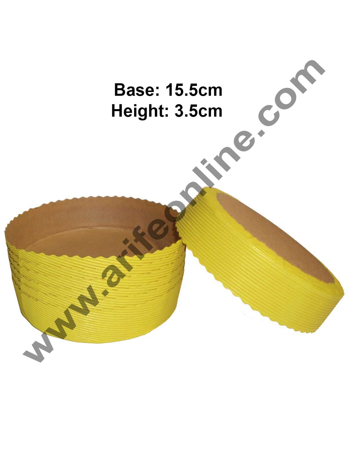 Novacart Bake & Serve Paper Baking Mould By Cake Decor - Round Cake Mould Yellow 10 Pcs