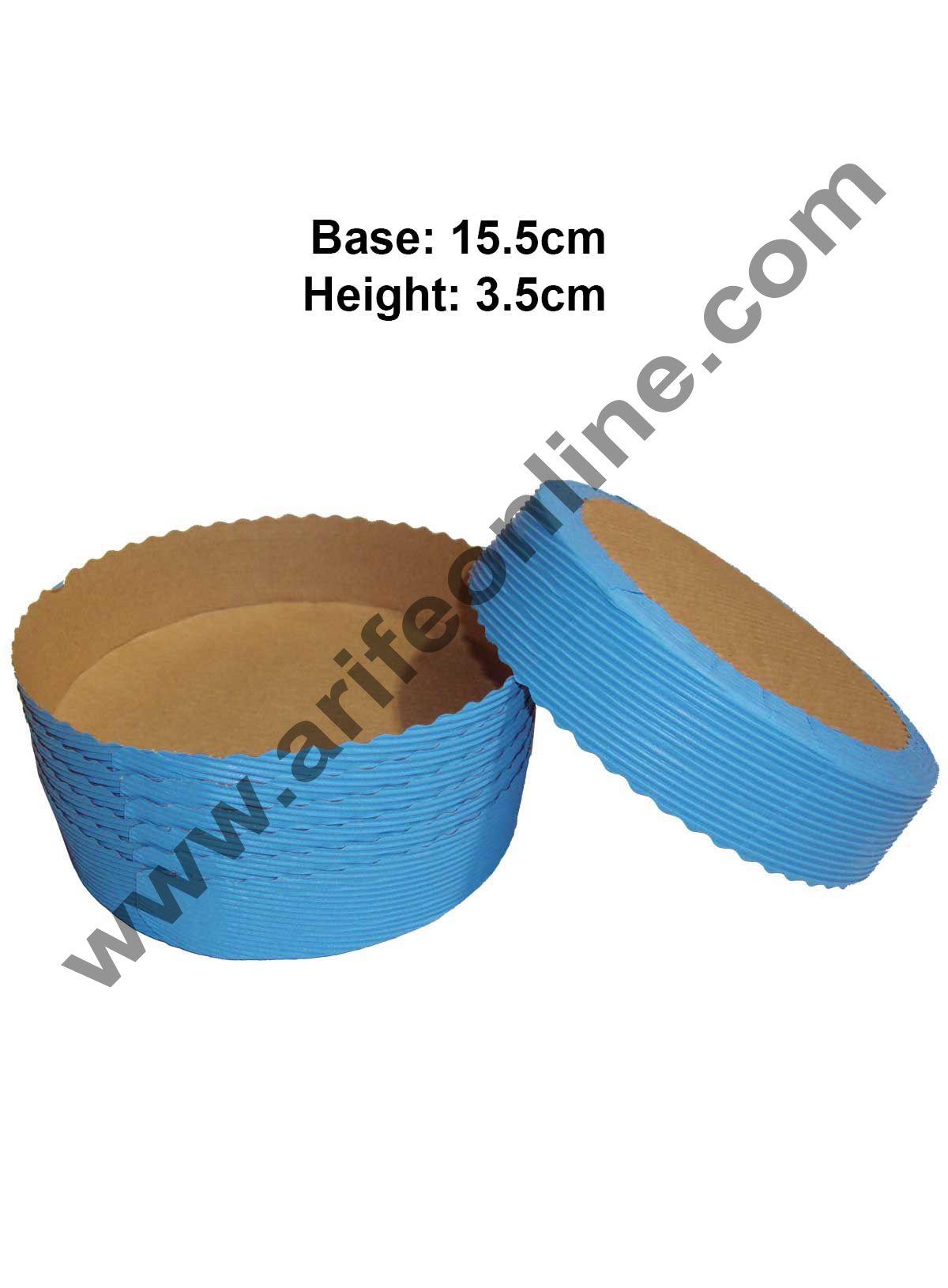 Novacart Bake & Serve Paper Baking Mould By Cake Decor - Round Cake Mould Blue 10 Pcs