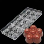 Cake Decor 18 Cavity Fancy Plum Blossom Flower Design Polycarbonate Chocolate Mold