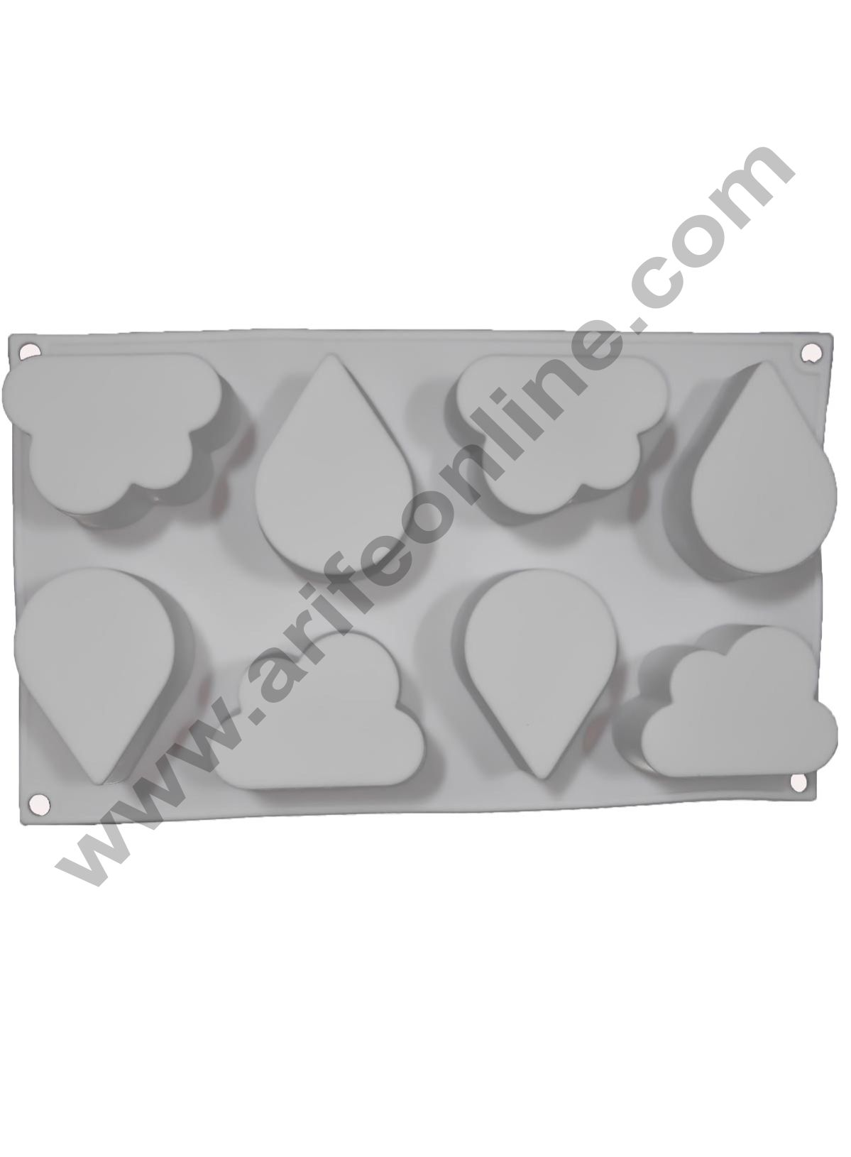 Cake Decor Silicon 8 Cavity Water Drops and Cloud Shape, Non Sticky Mold for soap,Chocolate, Fondant Sugar bakeware Mold