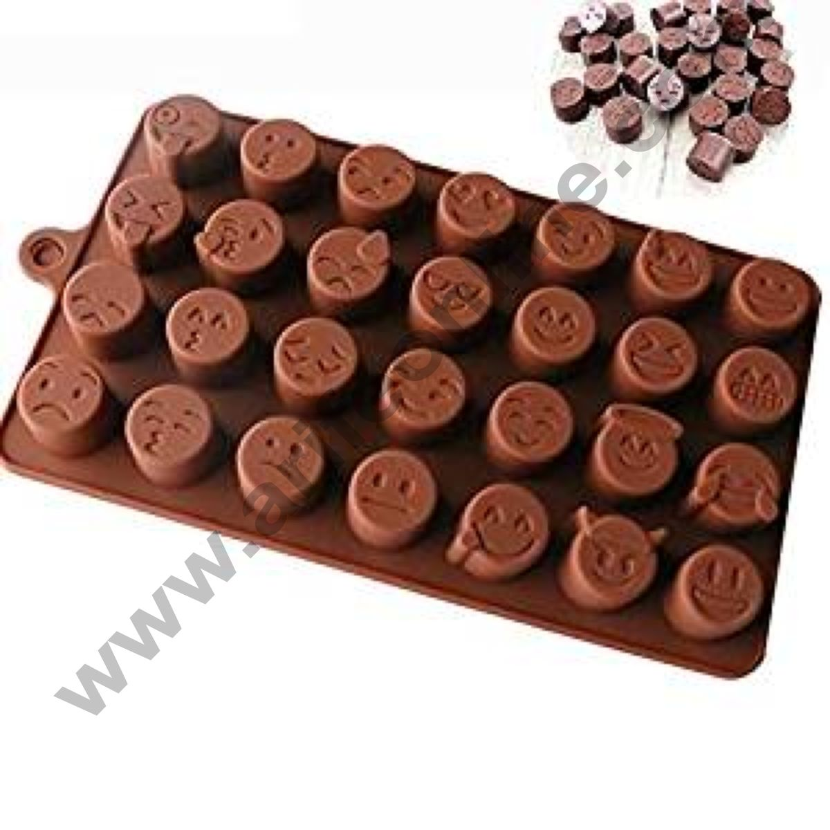 Cake Decor Silicon 28 Cavity Smiley Faces Brown Chocolate Mould, Ice Mould, Chocolate Decorating Mould