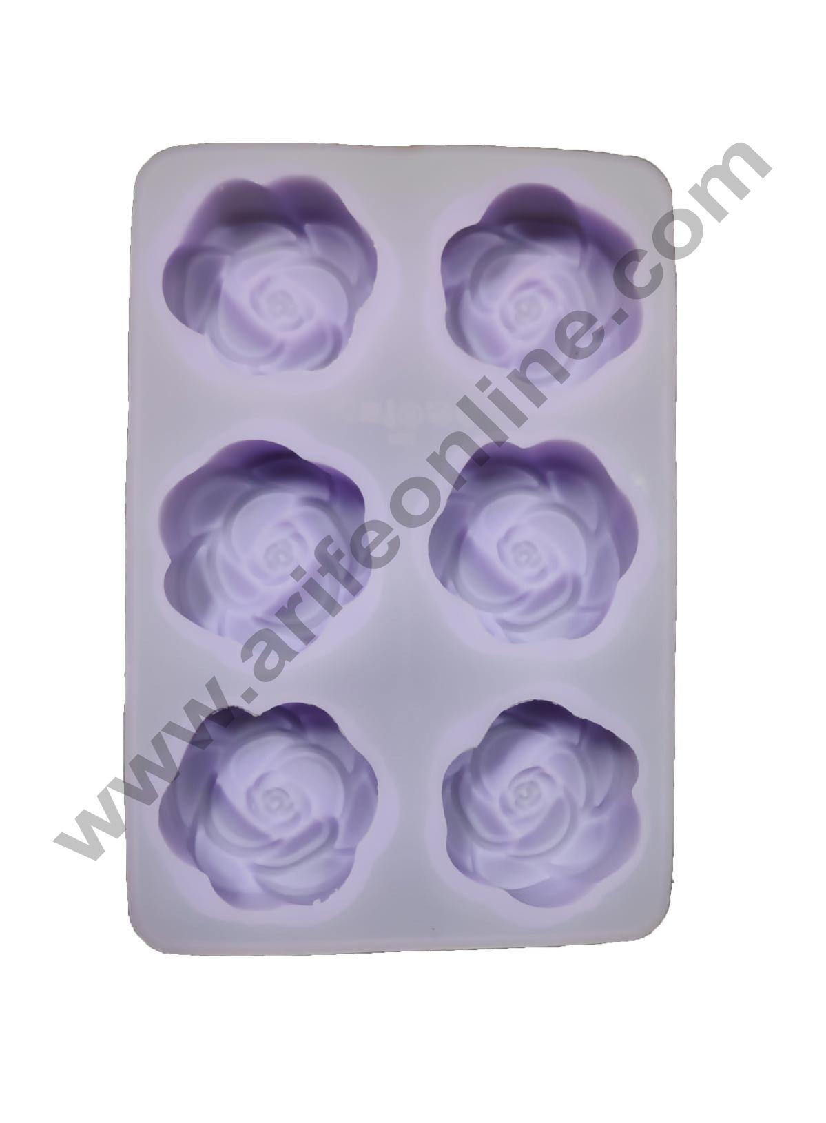 Cake Decor Silicon 6 Cavity, Rose Shape, Non Sticky Mold for soap,Chocolate, Fondant Sugar bakeware Mold