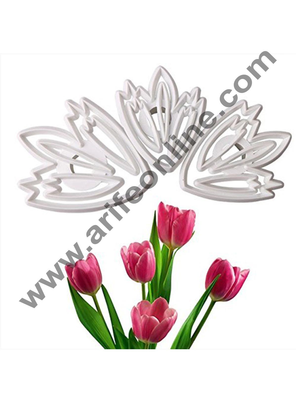 Cake Decor 3pcs/set Tulip Flower Design Plastic Fondant Mold 3D Sugarcraft Cake Cutter Cookie Mold Baking Tools