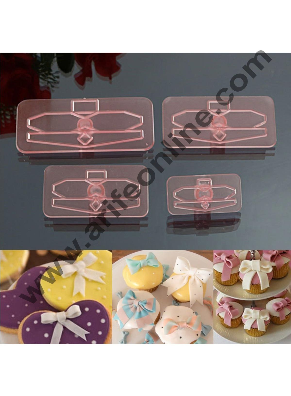 Cake Decor 4Pc Plastic Bow Cake Cutter Decor Mold Icing Cookie Biscuit Fondant Embosser