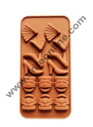 Cake Decor Silicon 14 Cavity Purse Sandal Fan Design Brown Chocolate Mould, Ice Mould, Chocolate Decorating Mould