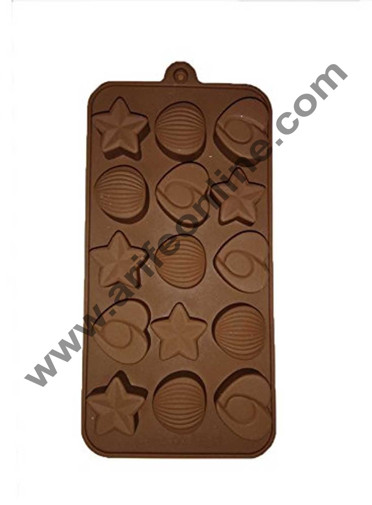 Cake Decor 15-Cavity Hearts,Stars and Shells Shape Silicone Brown chocolate Moulds