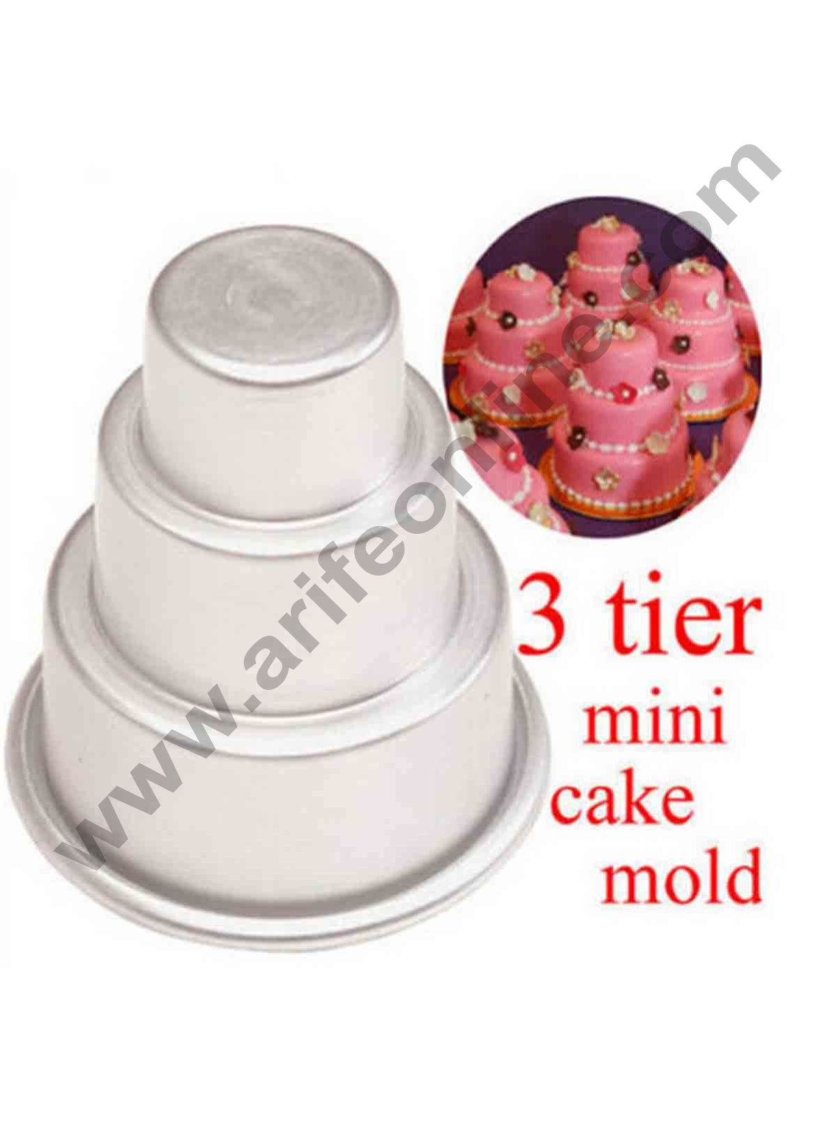 Cake Decor 1Pcs New Cake Trays Mini 3 Tier Cake Pan Tins Cupcake Pudding Pizza Molds Home Birthday Party Decors Supplies