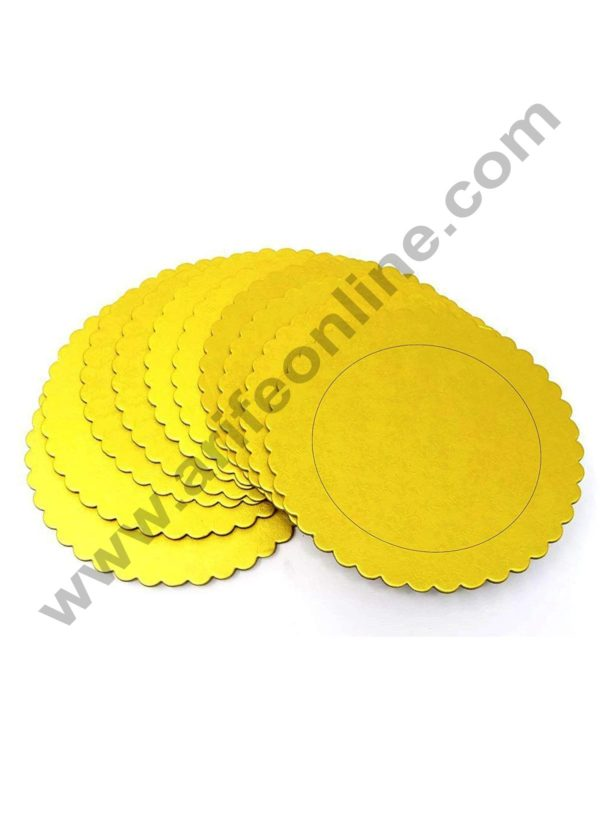 Cake Decor Gold Design Flower Print Glossy Corrugated Cake Board Base 8 Inch Diameter for Half Kg Cakes- Pack of 10Pcs 1