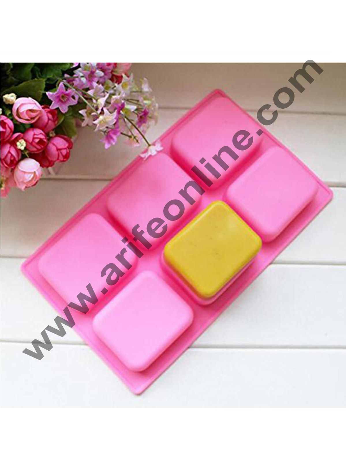 Cake Decor 6 Cavity Silicone Rounded Rectangle Muffin Soap Jelly Baking Mold for making Homemade and Melt and Pour Soaps