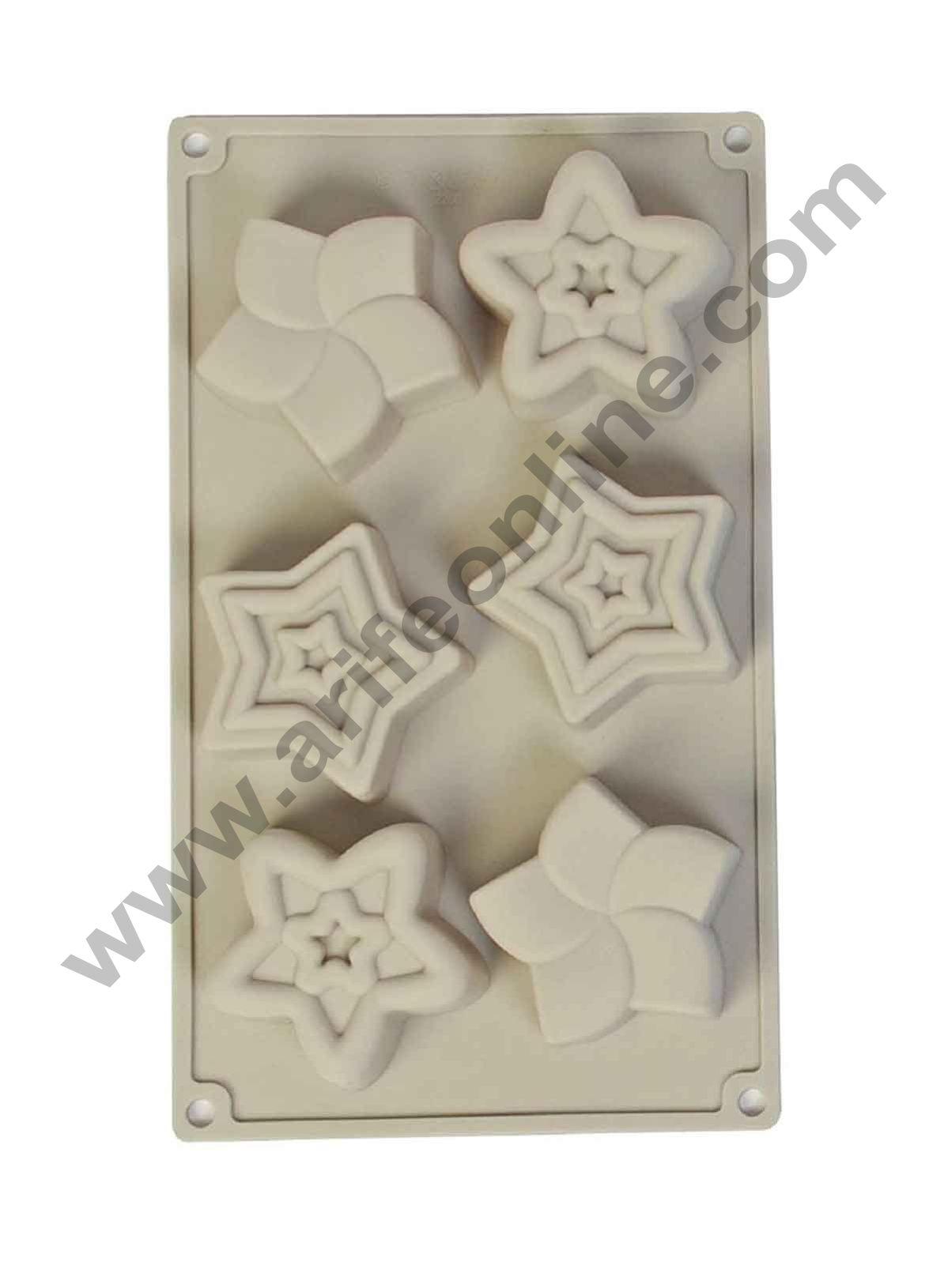 Cake Decor Silicon 6 Cavity, Star Shape, Non Sticky Mold for soap,Chocolate, Fondant Sugar bakeware Mold