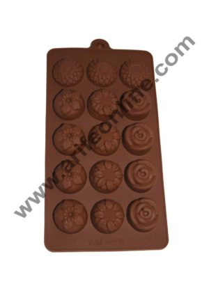 Cake Decor Silicon 15 Cavity Flowers Design Brown Chocolate Mould, Ice Mould, Chocolate Decorating Mould