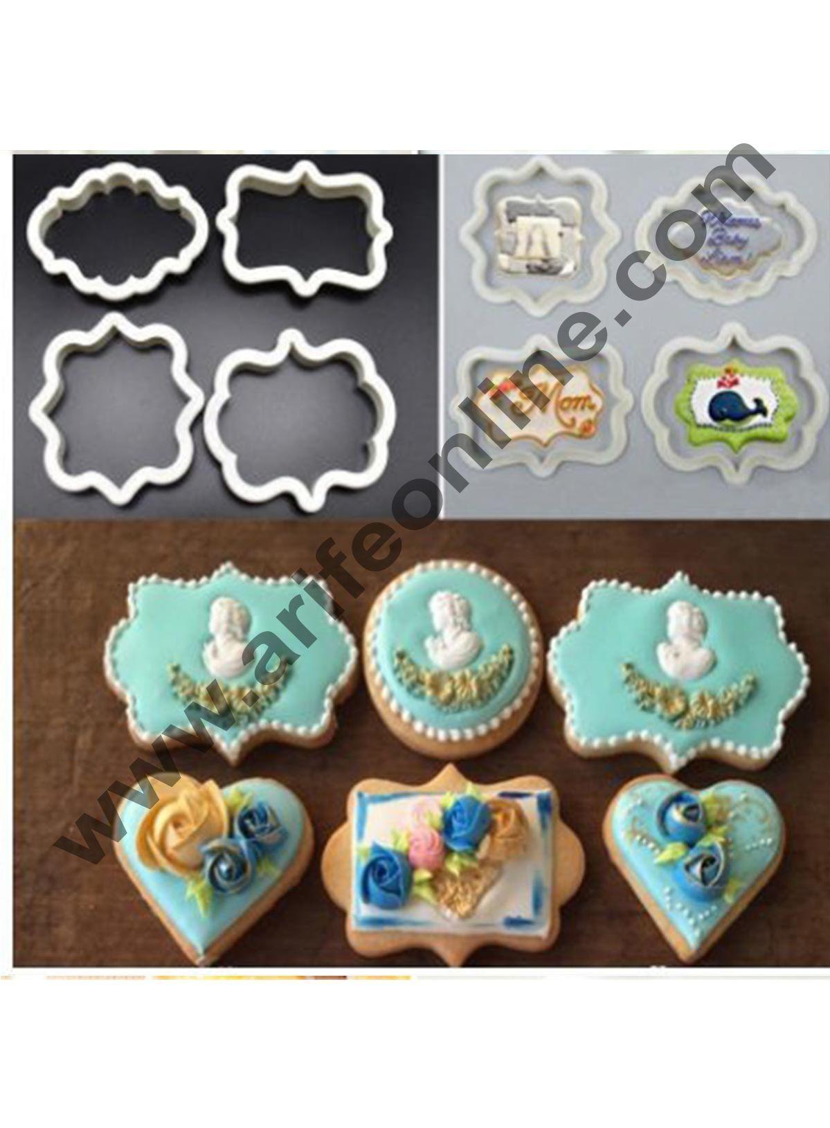 Cake Decor 4pcs Vintage Plaque Frame Cookie Cutter Set Plastic Biscuit Mould Fondant Cake Decorating Tools
