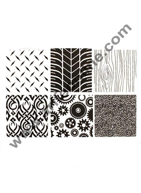 Cake Decor 6PCS Manly Texture Sheet Set Tyre Texture Mat For Sugar Craft Decoration Cookie Cupcake Fondant Cake Mold Baking Tools For Cakes 1