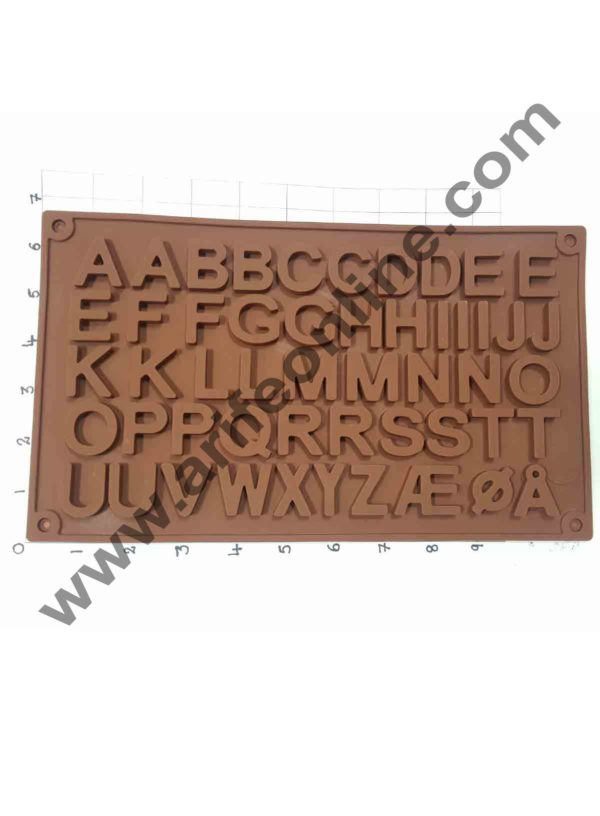 Cake Decor 51-Cavity Double A to Z Alphabets Shape Silicone Brown Chocolate Moulds 1