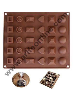 Cake Decor Silicon 30 Cavity Mix Design Brown Chocolate Mould, Ice Mould, Chocolate Decorating Mould
