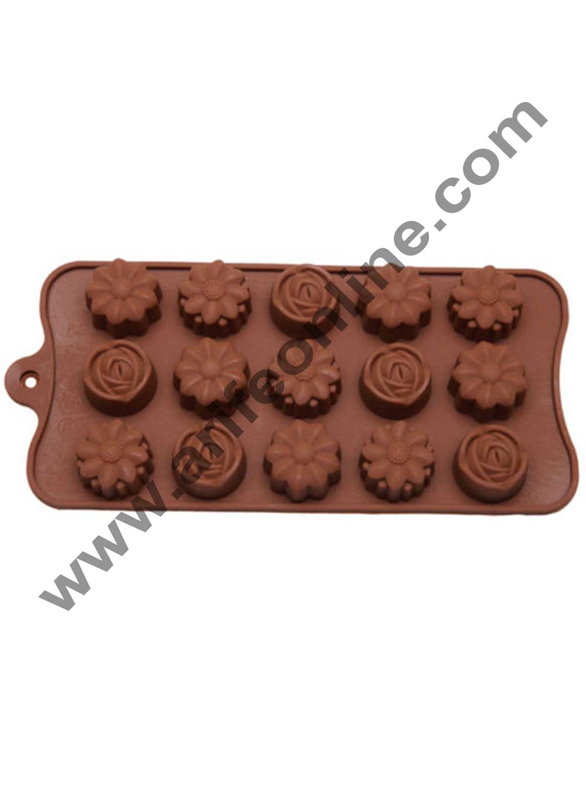 Cake Decor Silicon 15 Cavity Mix Flower Design Brown Chocolate Mould, Ice Mould, Chocolate Decorating Mould