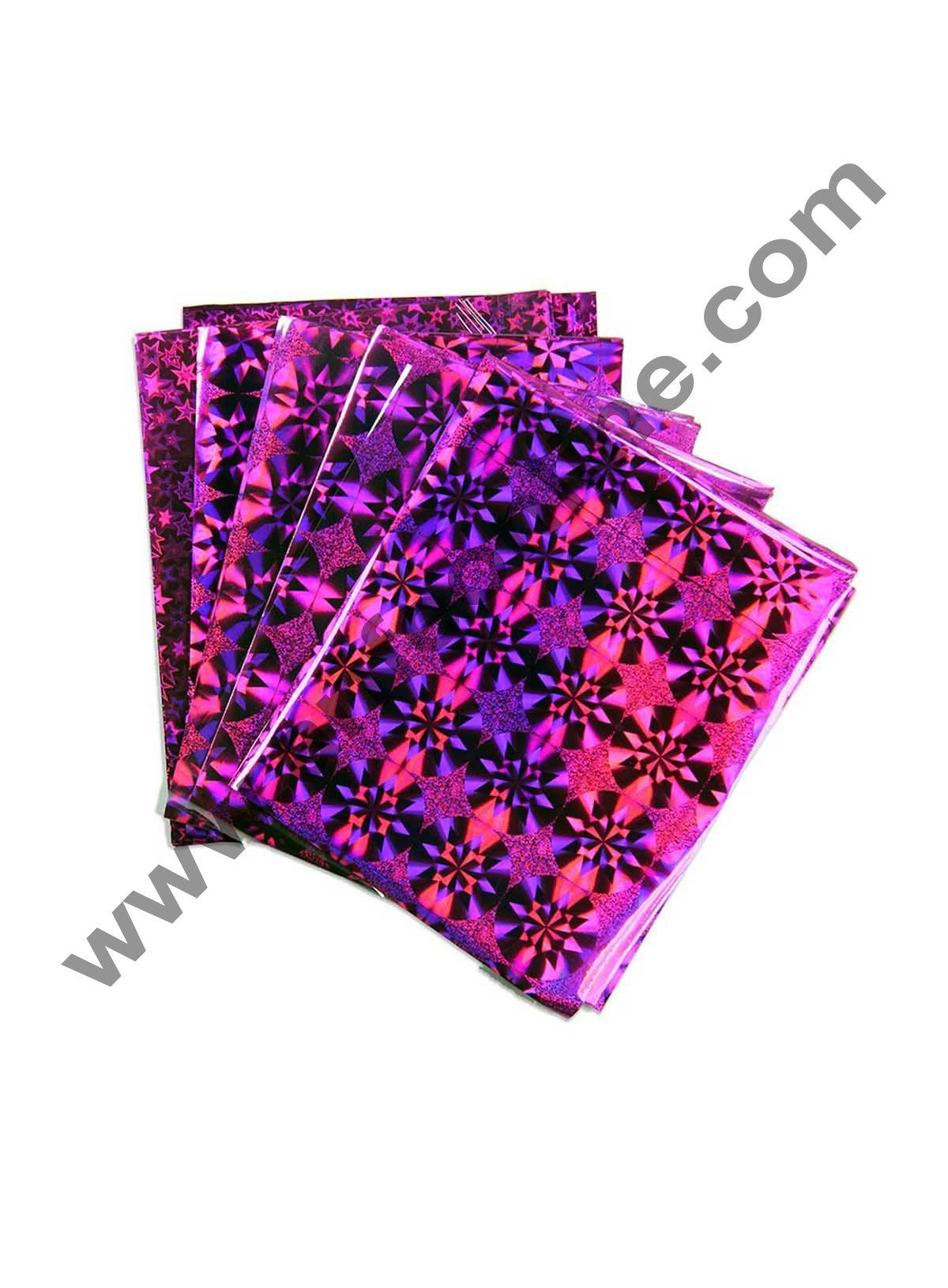 Cake Decor Metallic Hologram Plastic Chocolate Wrapper, Multicolour