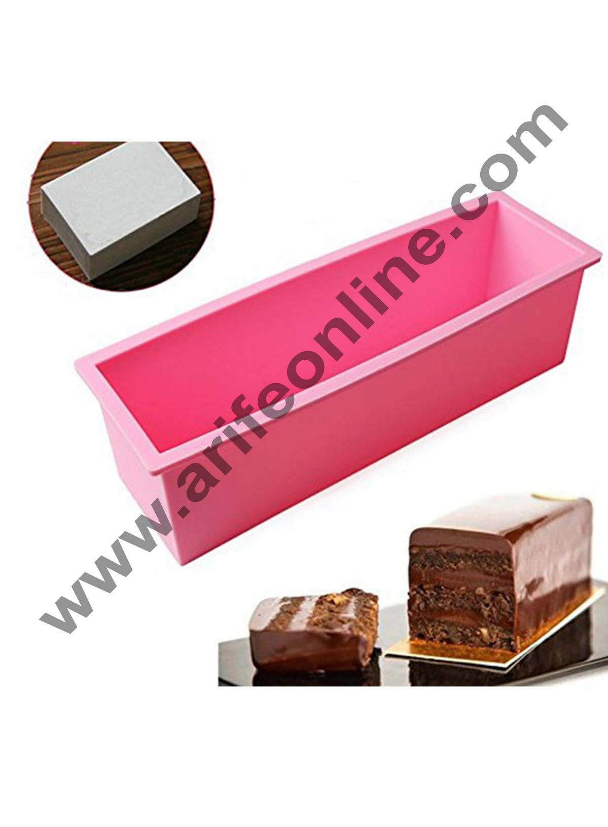 Cake Decor Silicon Rectangular Soap /Cake /Loaf Mold Size :27 x 8.8 x 8 CM (Output Weight : Approx 1.5 Kg)