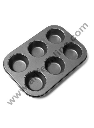 Cake Decor Nonstick Aluminum 6 Cavity Muffin Tray