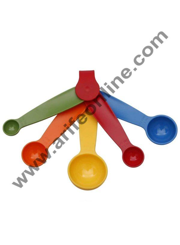 Cake Decor 5 in 1 Plastic Measuring Spoon, Multicolor Spoon Set 1