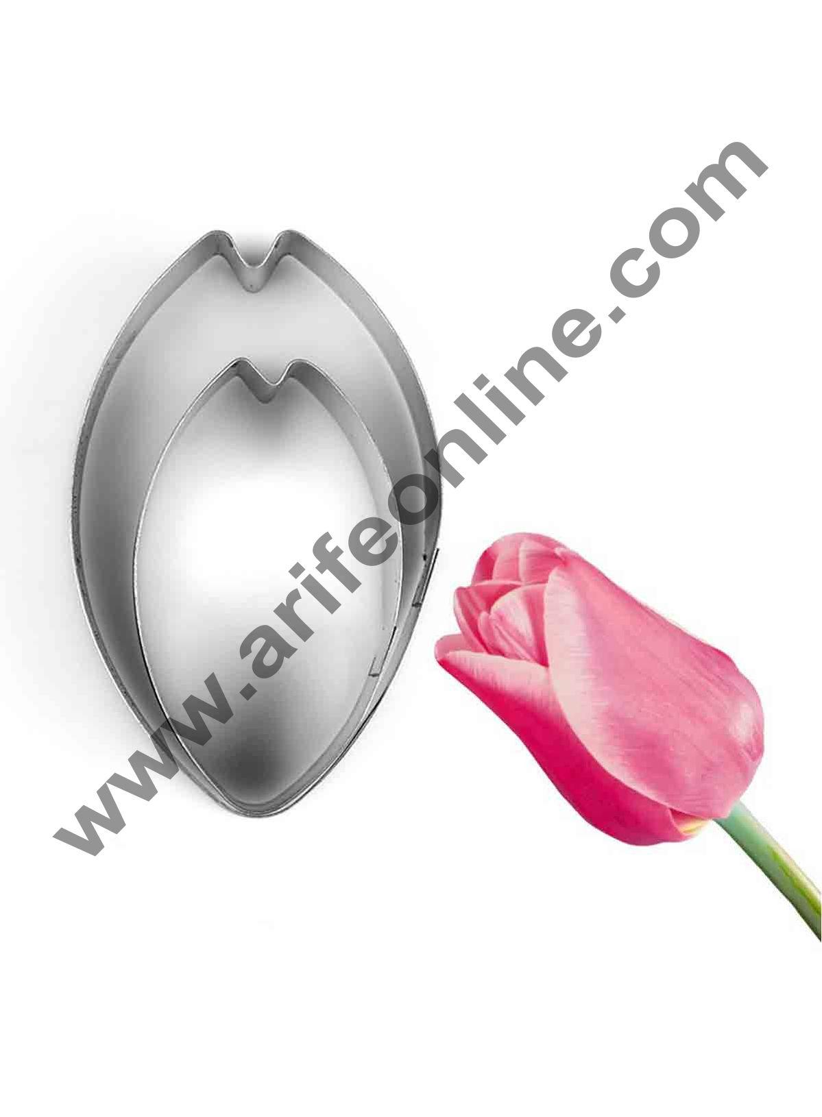 Cake Decor 2 Pcs Tulip Petals Shape Cutter Bakeware Mould Biscuit Mould Set Sugar Arts Fondant Cake Decoration Tools