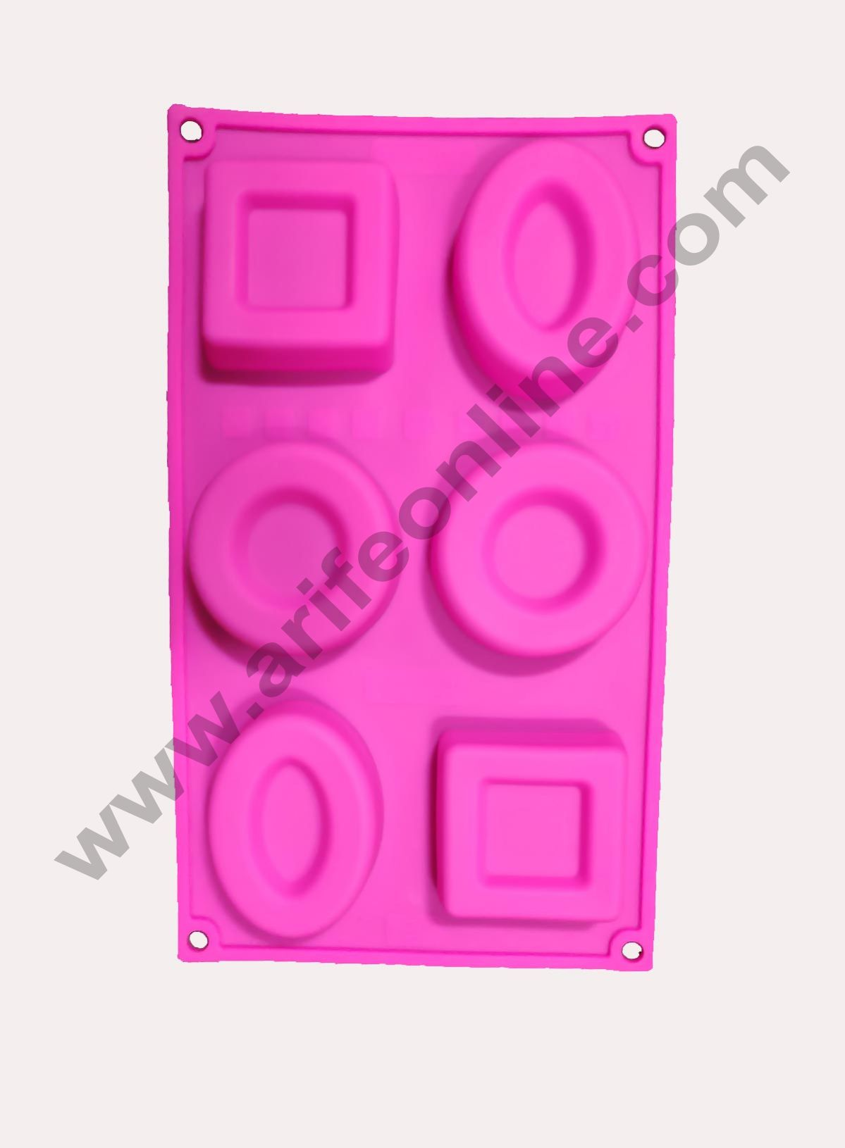 Cake Decor Silicon 6 Cavity,Square,Circle and Oval Non Sticky Mold for soap,Chocolate, Fondant Sugar bakeware Mold