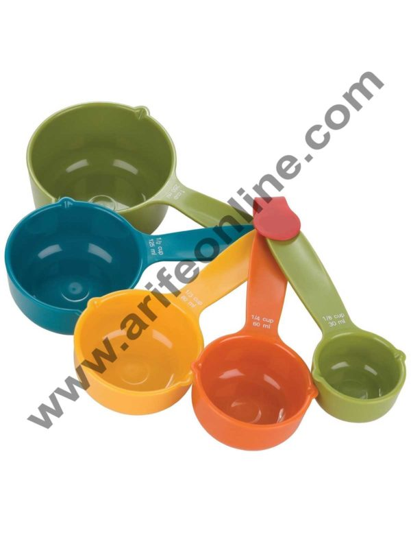 Cake Decor 5 in 1 Plastic Measuring Cups and Spoon, Multicolor Cups and Spoon Set 1