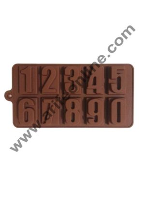 Cake Decor Silicon 10 Cavity Number Shape Brown Chocolate Mould, Ice Mould, Chocolate Decorating Mould