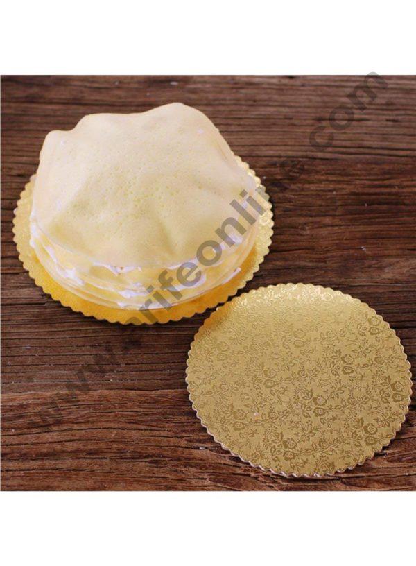 Cake Decor Gold Design Flower Print Glossy Corrugated Cake Board Base 8 Inch Diameter for Half Kg Cakes- Pack of 10Pcs 2