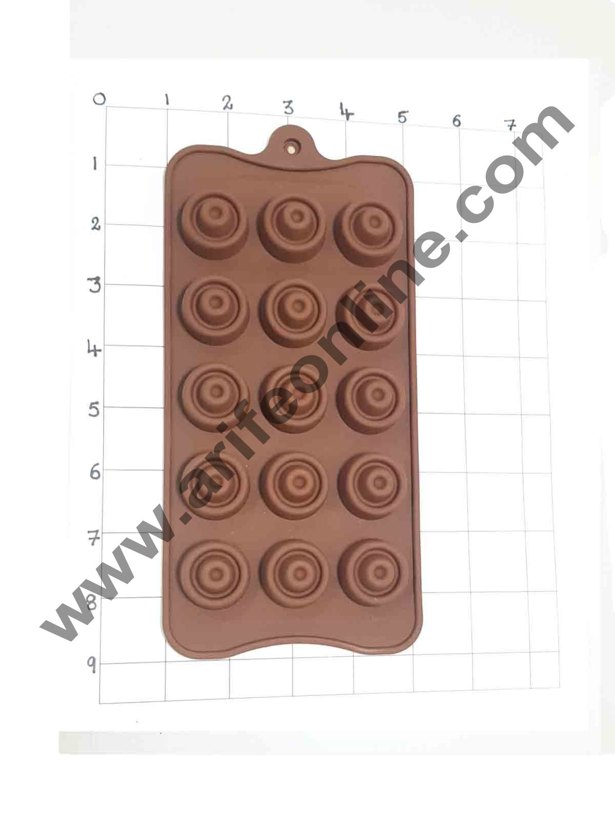 Cake Decor Silicon 15 Cavity Circle Shape Brown Chocolate Mould, Ice Mould, Chocolate Decorating Mould