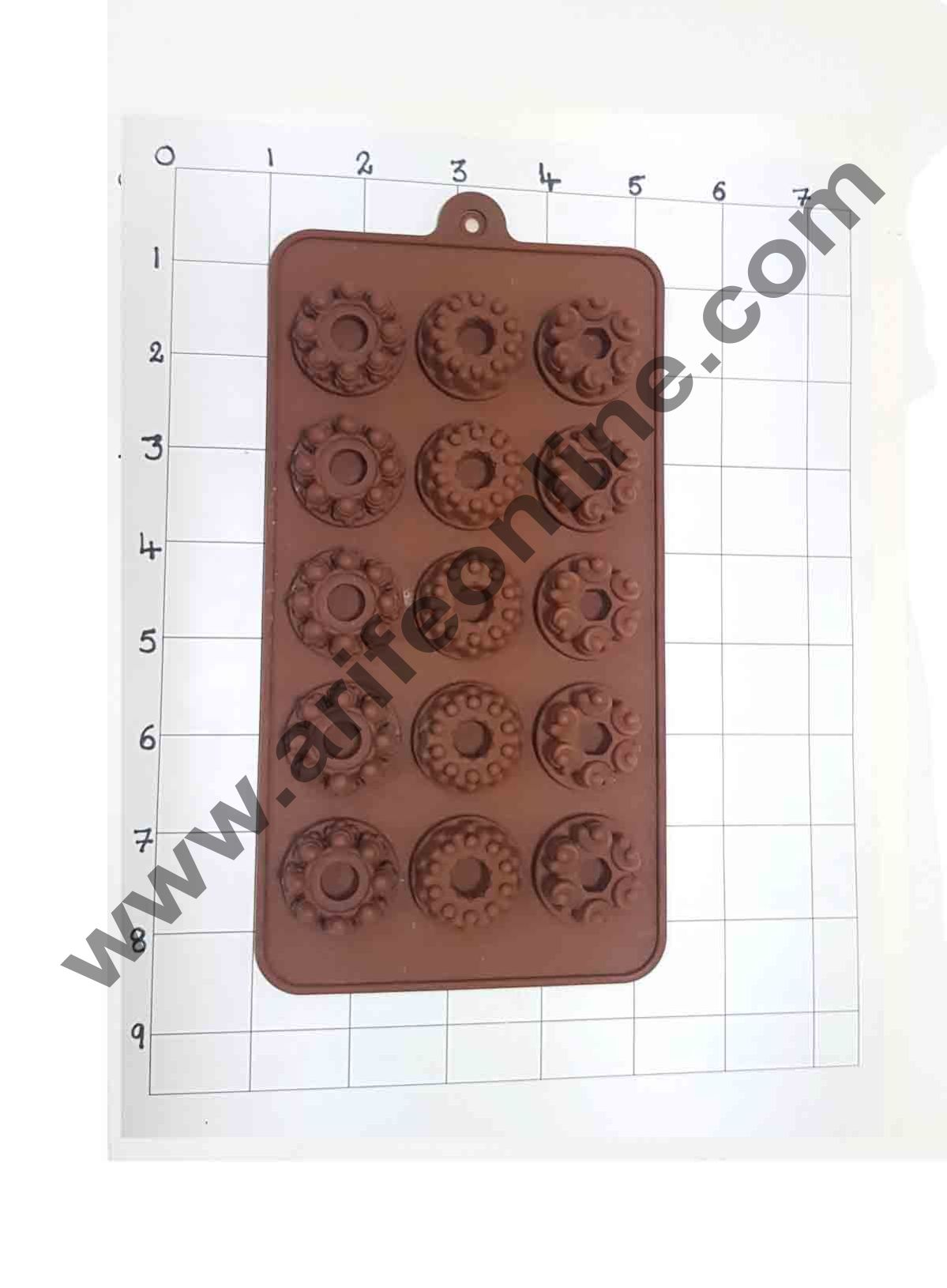Cake Decor Silicon 15 Cavity Mix Donut Design Brown Chocolate Mould, Ice Mould, Chocolate Decorating Mould