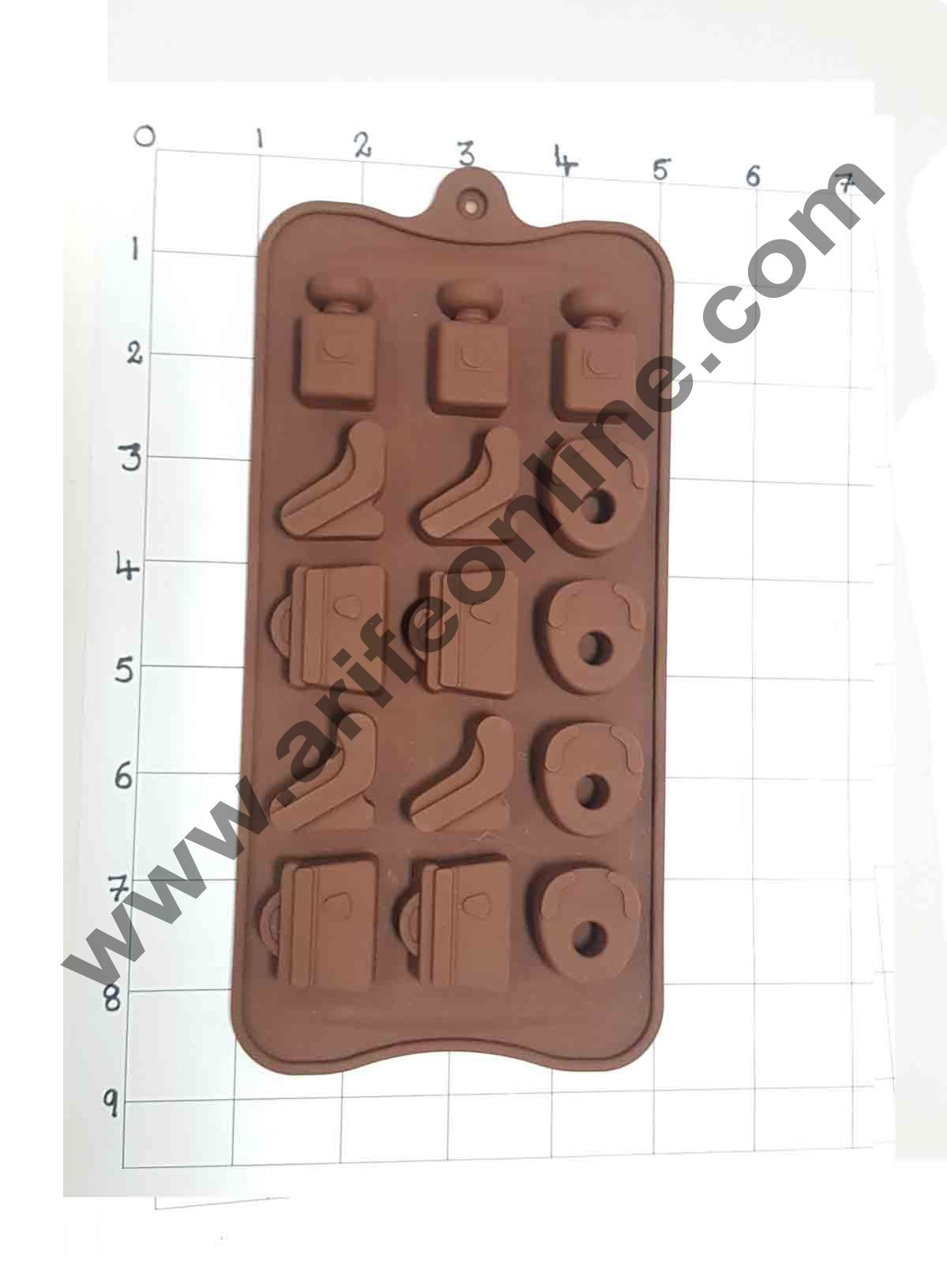 Cake Decor Silicon 15 Cavity New Purse, Sandal and Prefume Bottle Design Brown Chocolate Mould, Ice Mould, Chocolate Decorating Mould