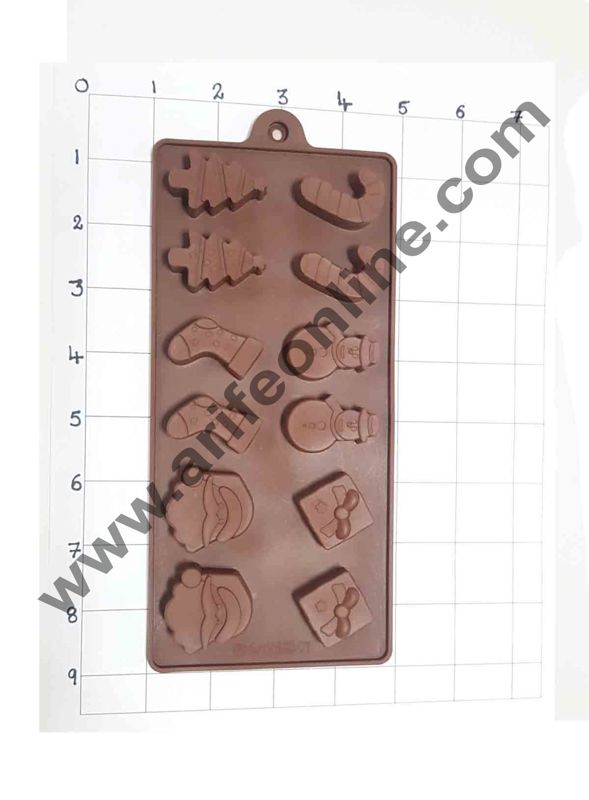 Cake Decor Silicon 12 Cavity New Christmas Design Brown Chocolate Mould, Ice Mould, Chocolate Decorating Mould