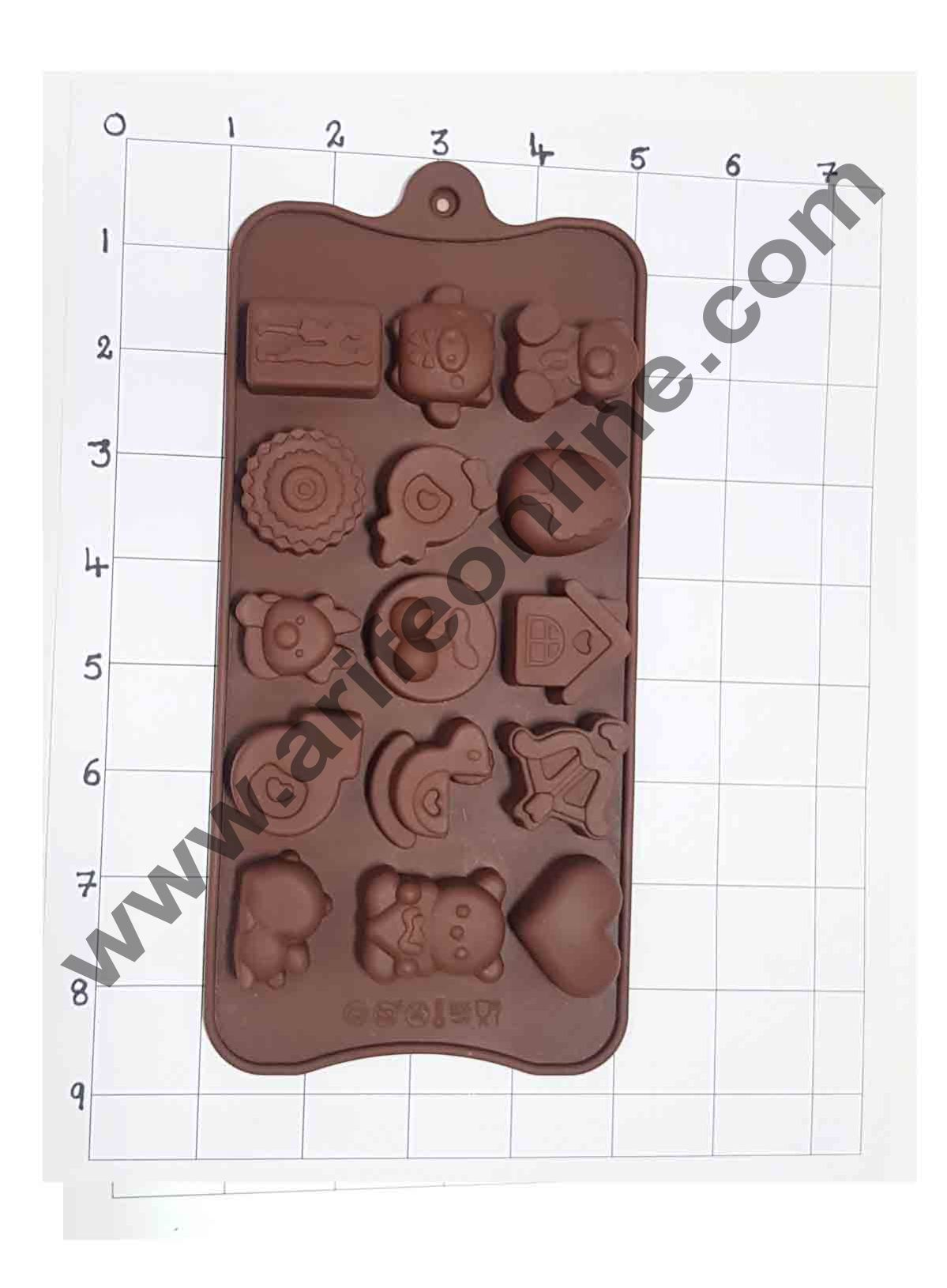 Cake Decor Silicon 15 Cavity New Teddy,Couples and Heart Design Brown Chocolate Mould, Ice Mould, Chocolate Decorating Mould