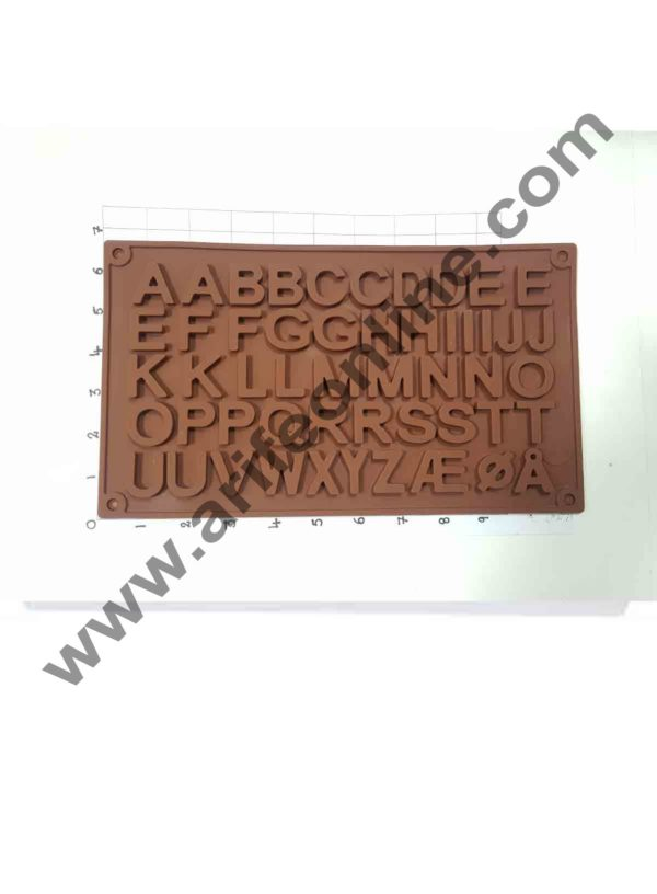 Cake Decor 51-Cavity Double A to Z Alphabets Shape Silicone Brown Chocolate Moulds 2