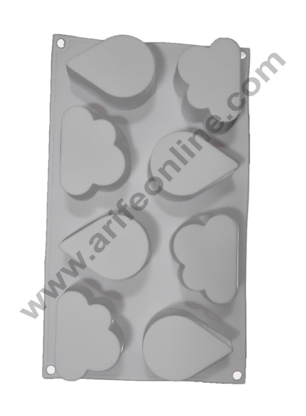 Cake Decor Silicon 8 Cavity Water Drops and Cloud Shape, Non Sticky Mold for soap,Chocolate, Fondant Sugar bakeware Mold 2