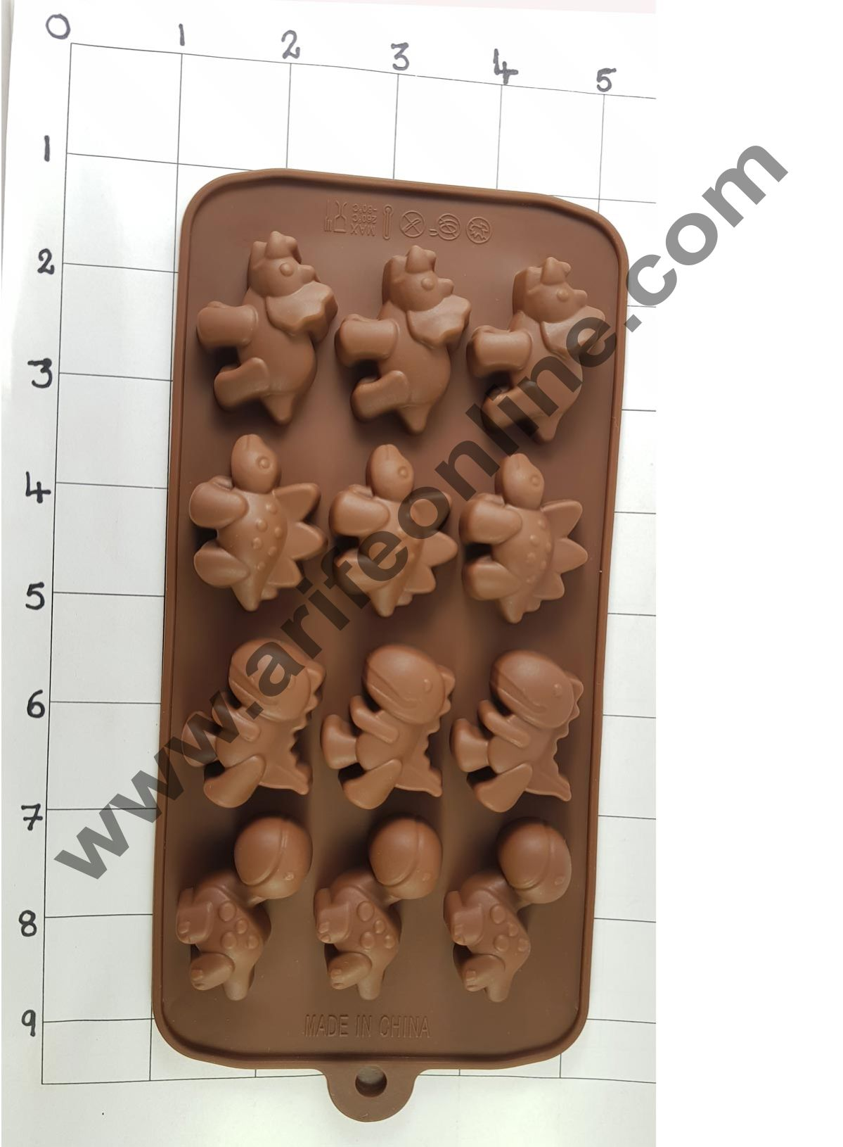 Cake Decor Silicon 15 Cavity Dinasour Design Brown Chocolate Mould, Ice Mould, Chocolate Decorating Mould
