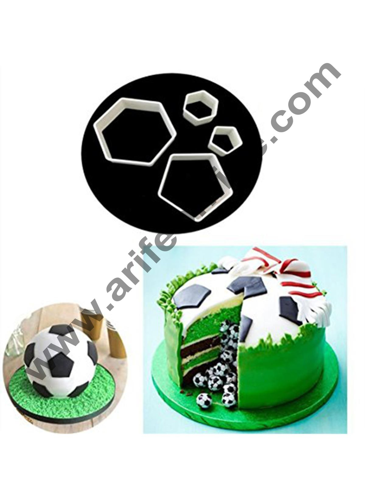Cake Decor 4pcs Plastic Football Shape Cookie Cutter Stamp Sugarcraft Baking Mould Fondant Cake Decorating Tools