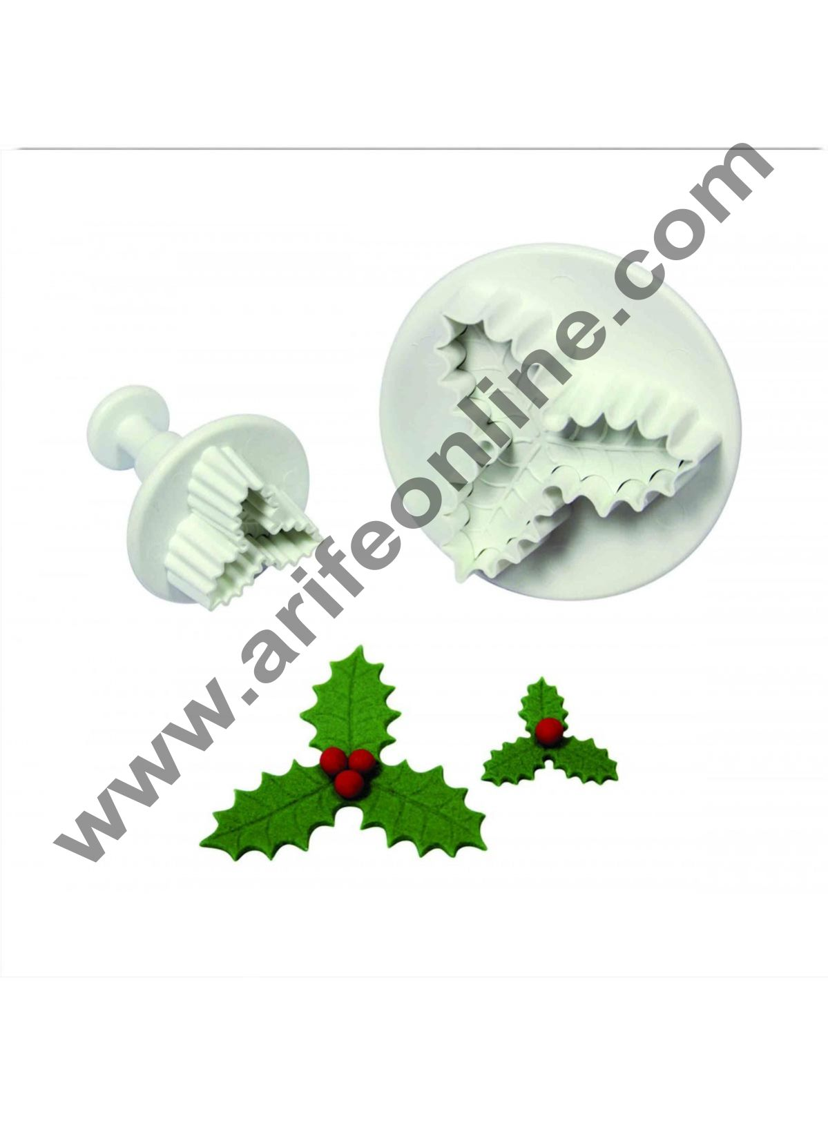 Cake Decor 2pcs Veined Three-leaf Holly Fondant Plunger Cutters, Set of 2
