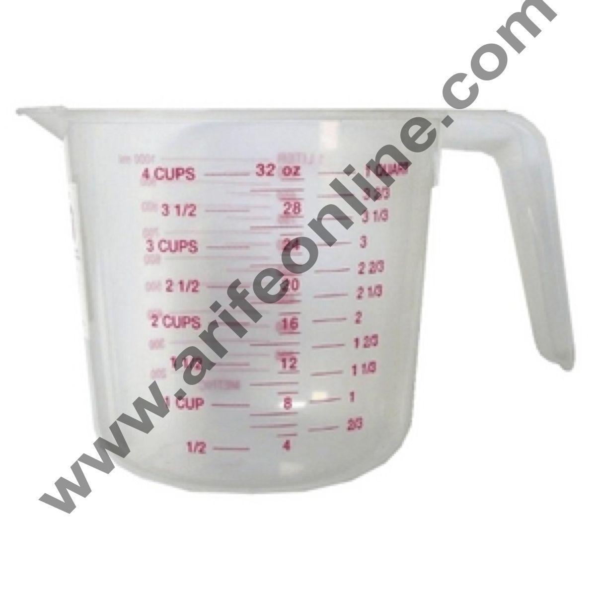 Cake Decor Plastic Measuring Jar 1Ltr. Litre, Cups, Grams